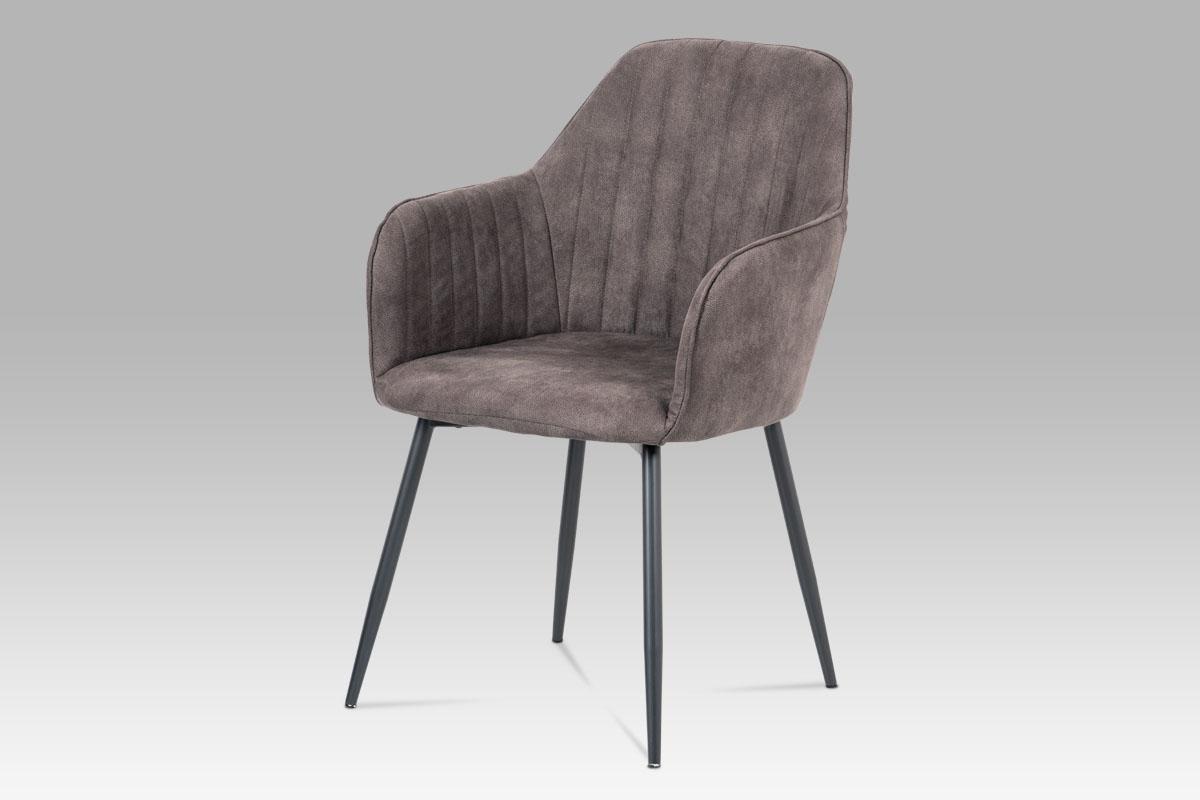 Autronic - Jídelní židle, hnědá látka, kov šedá mat - DCH-222 BR3