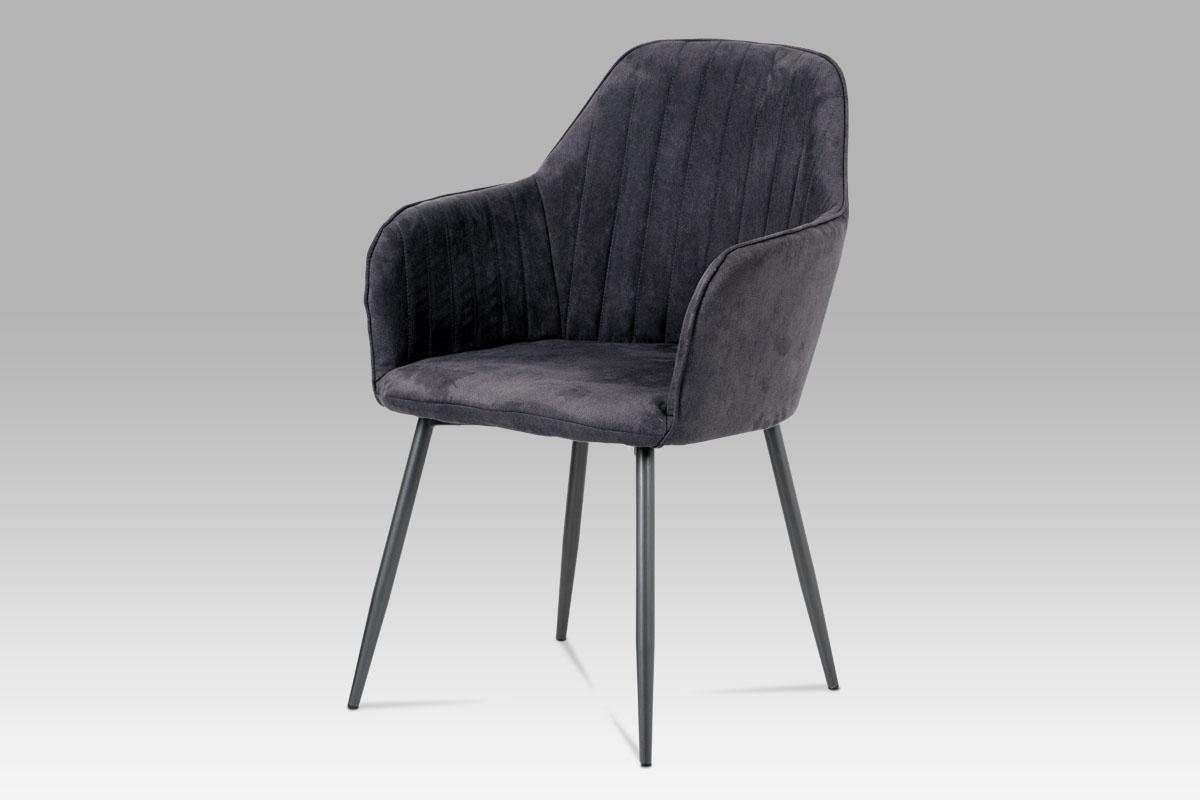 Autronic - Jídelní židle, šedá látka, kov šedá mat - DCH-222 GREY3