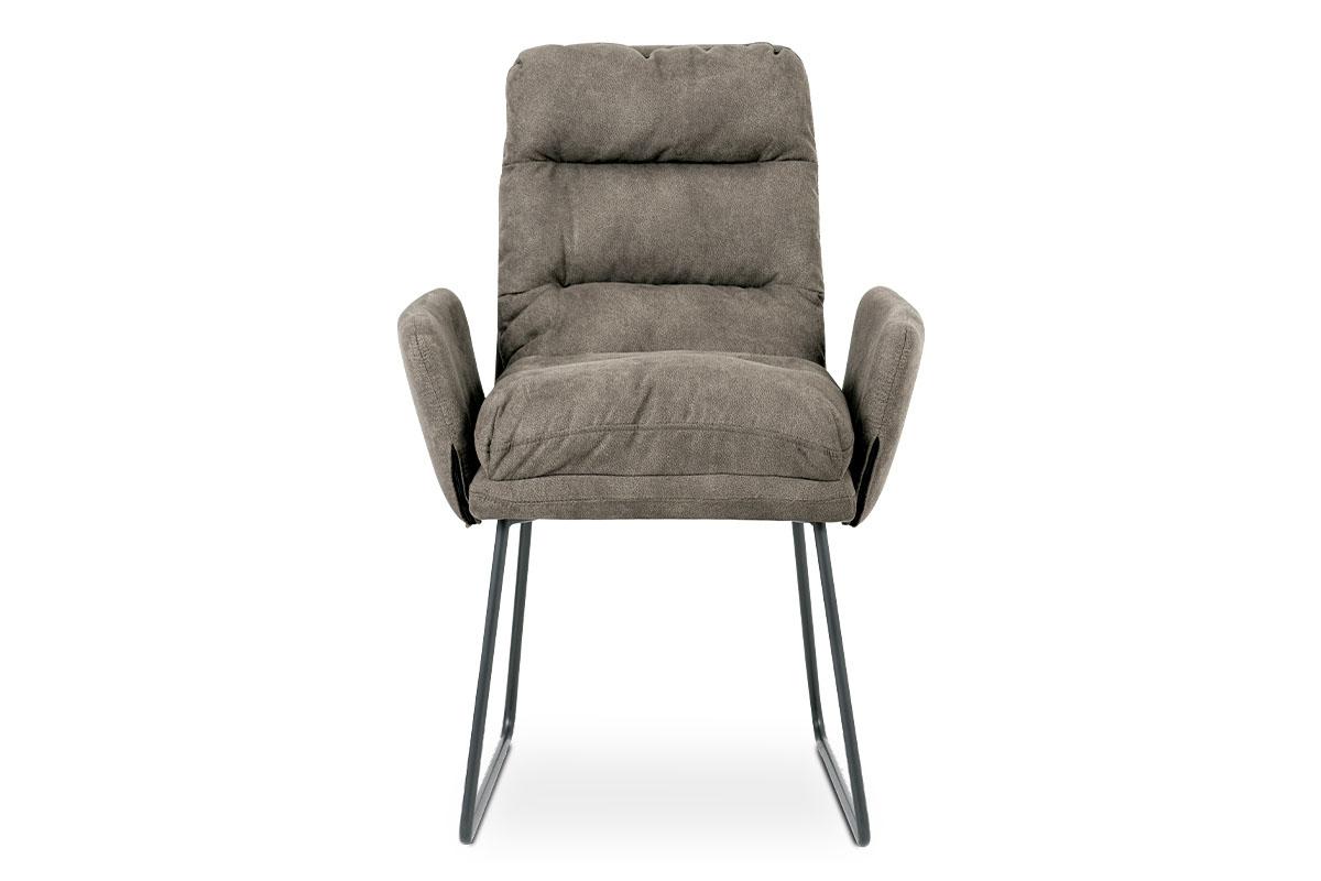 Jídelní židle, hnědá látka, kov šedá mat - DCH-256 BR3