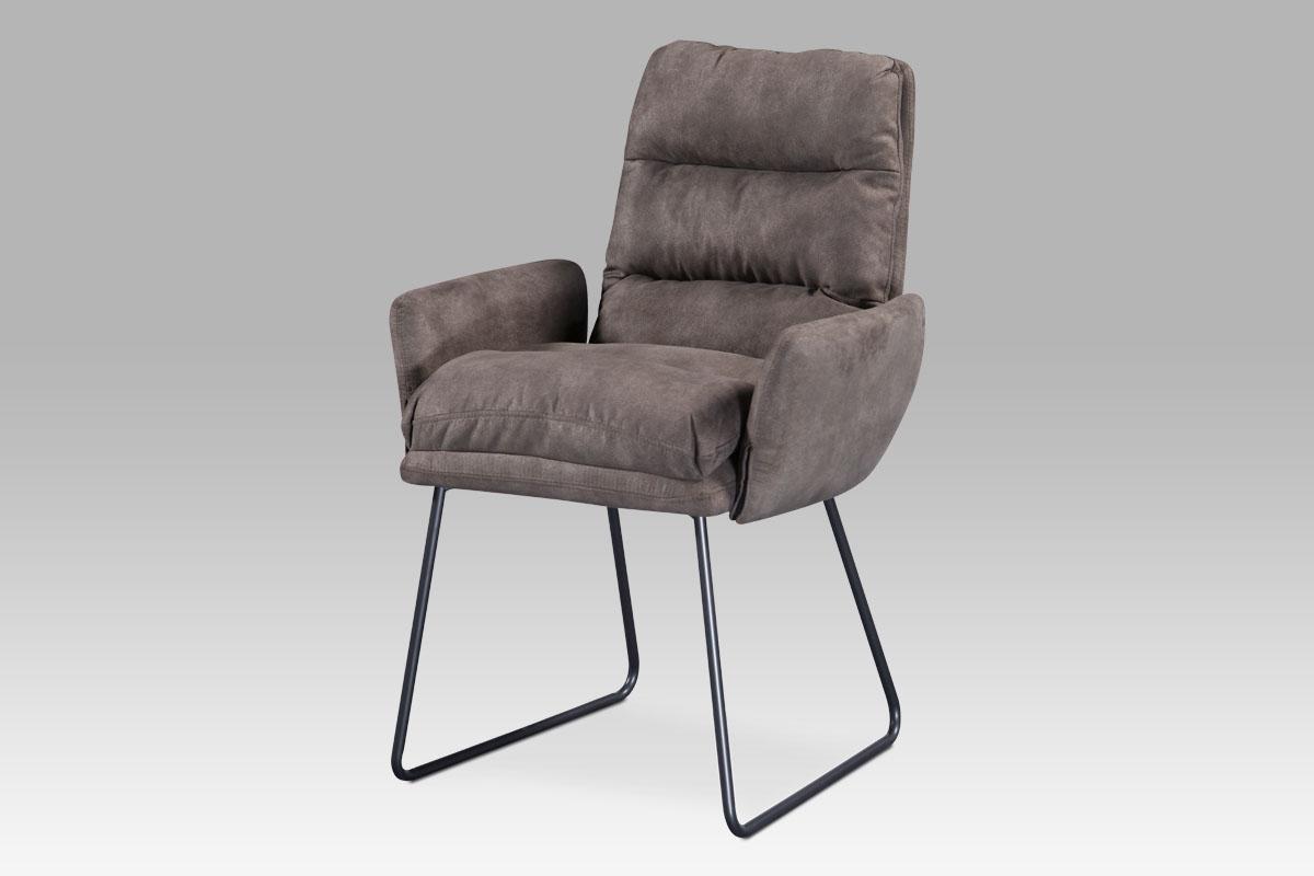 Autronic - Jídelní židle, hnědá látka, kov šedá mat - DCH-256 BR3