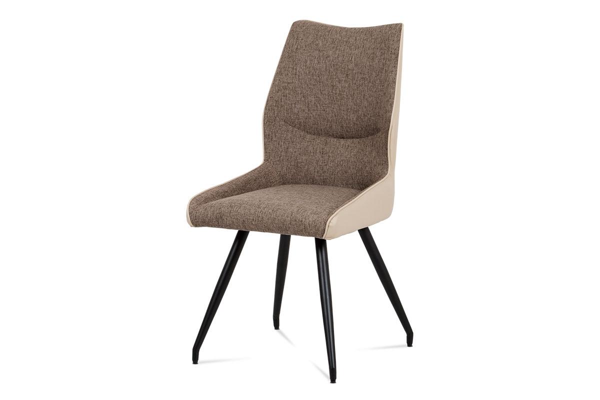 Autronic - Jídelní židle koženka cappuccino + látka / černá kov - DCH-351 CAP2