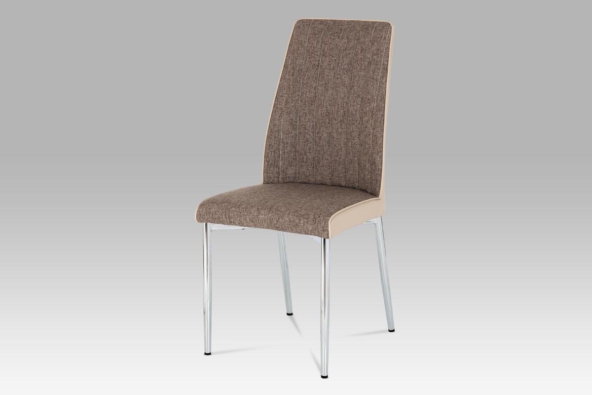 Autronic - Jídelní židle cappuccino látka + koženka / chrom - DCH-352 CAP2