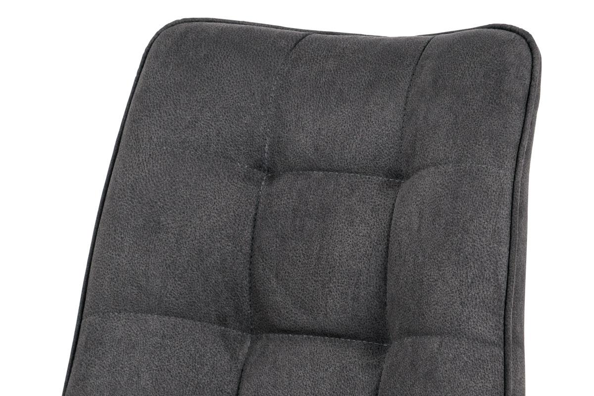 Jídelní židle, potah šedá látka v dekoru vintage kůže, kovová podnož, matný čern - DCH-414 GREY3