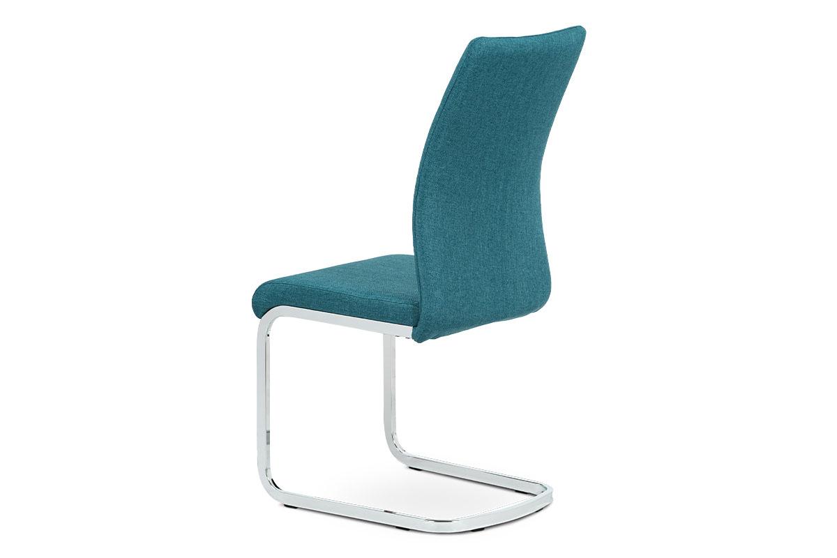 Jídelní židle, modrá látka, kov chrom - DCH-455 BLUE2