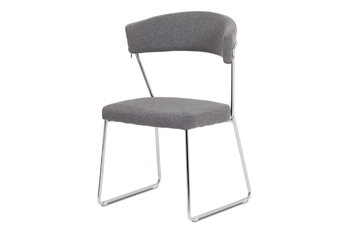 Autronic - Jídelní židle, šedá látka, chrom - DCH-496 GREY2
