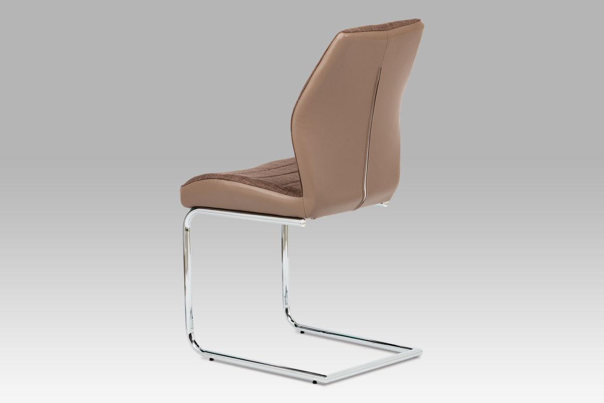 Jídelní židle, kombinace hnědé látky a cappuccino ekokůže, pohupová chromovaná p - DCH-511 BR2
