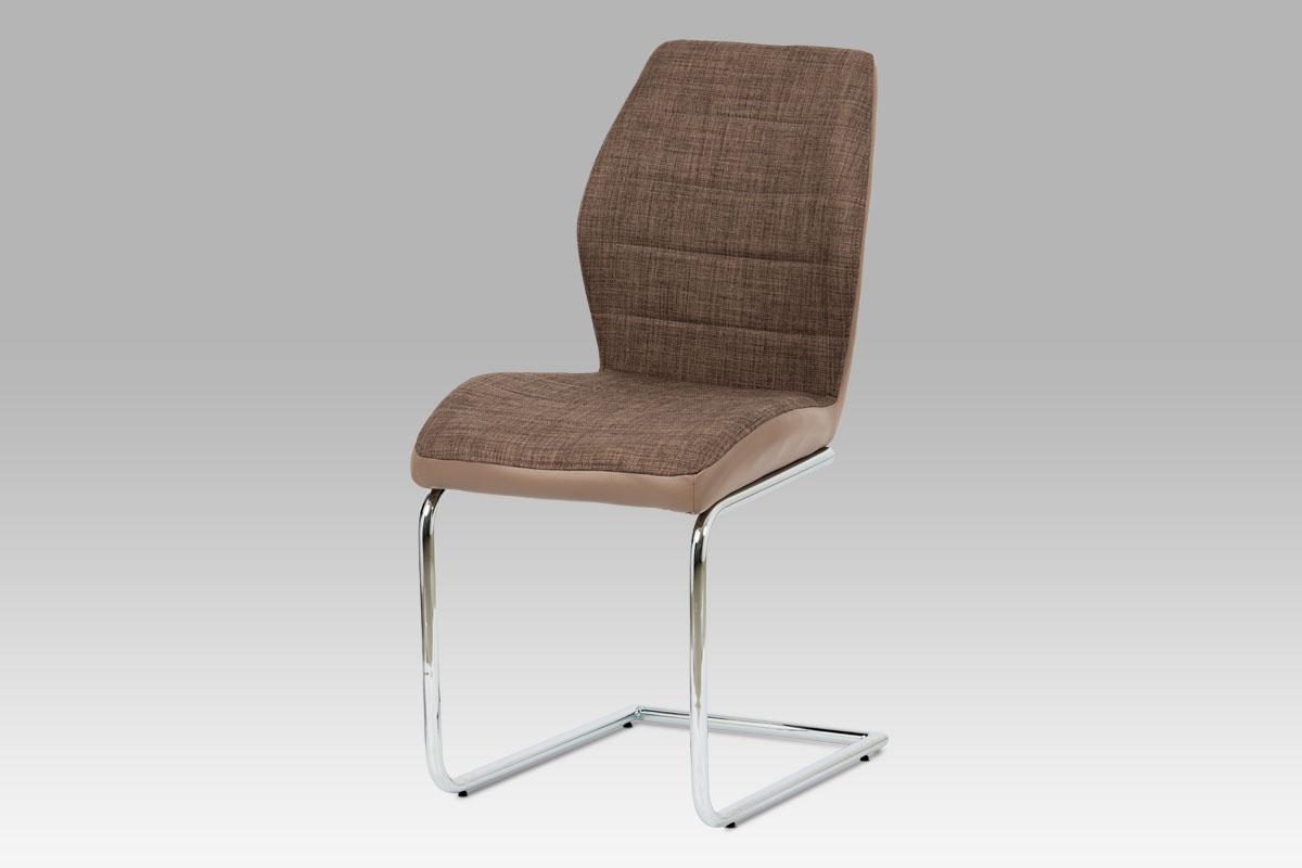 Autronic - Jídelní židle hnědá látka + cappuccino koženka / chrom - DCH-511 BR2