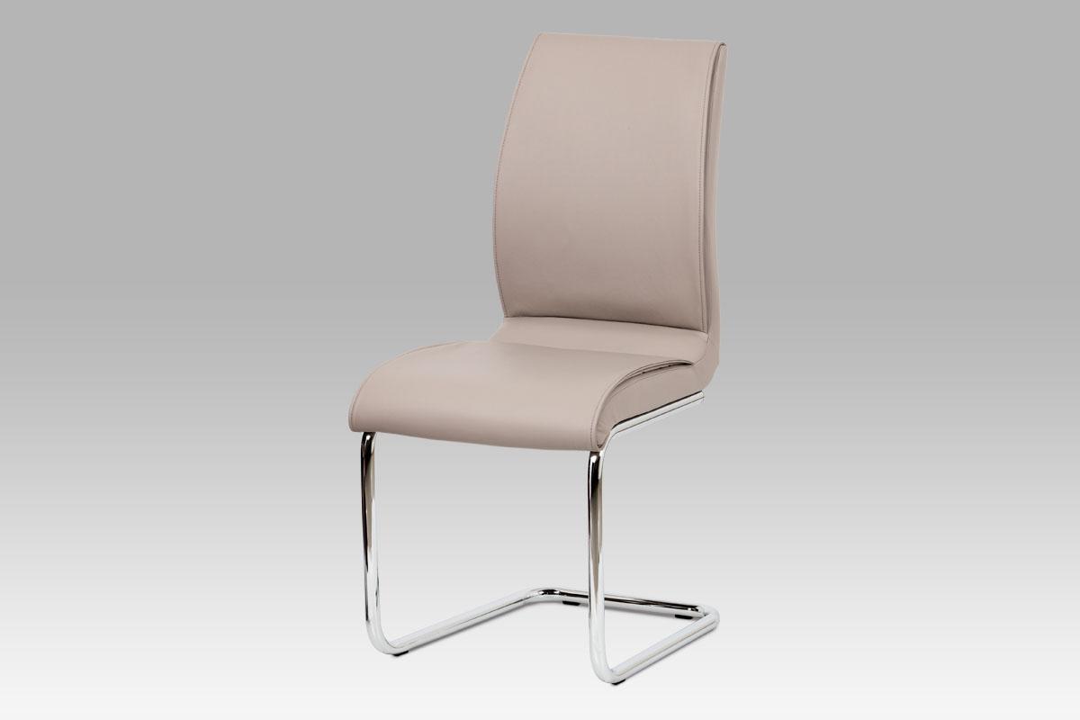 Autronic - Jídelní židle koženka lanýžová / chrom - DCH-575 LAN
