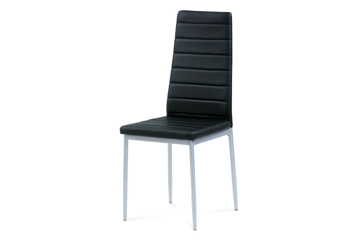Autronic - Jídelní židle koženka černá / šedý lak - DCL-117 BK