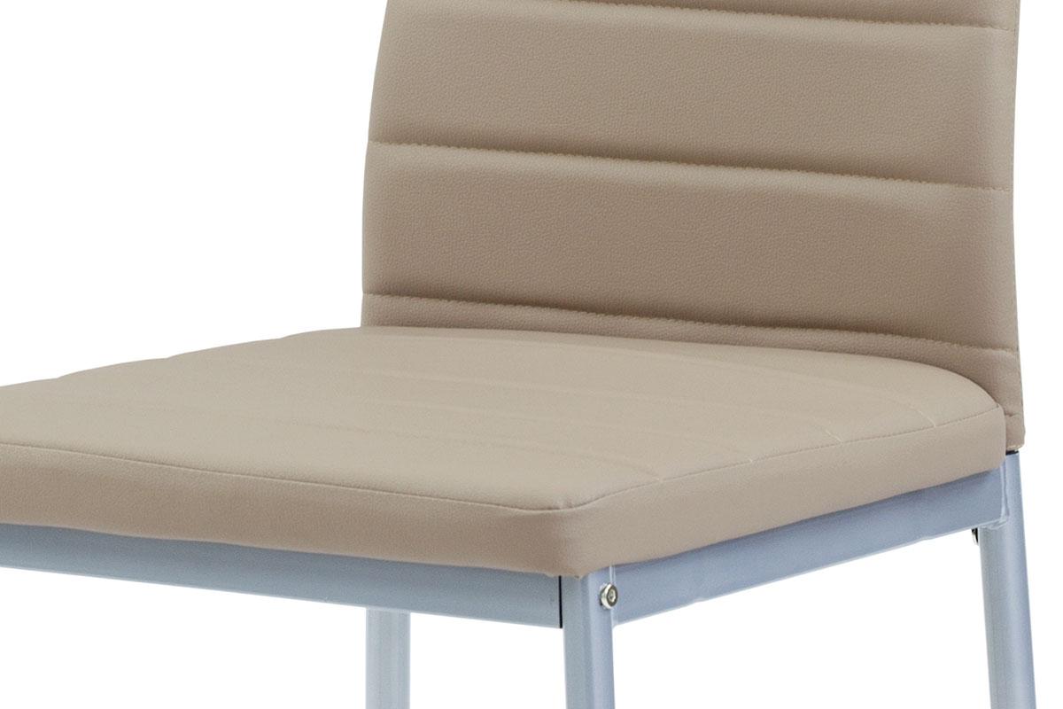 Jídelní židle koženka cappuccino / šedý lak - DCL-117 CAP