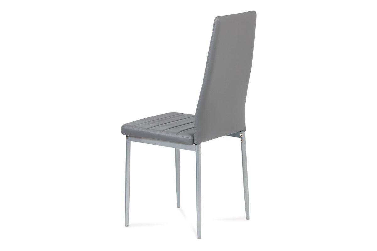 Jídelní židle, koženka tm. šedá / šedý lak - DCL-117 GREY