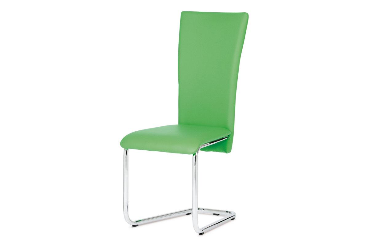 Autronic - Jídelní židle chrom / zelená koženka - DCL-173 GRN