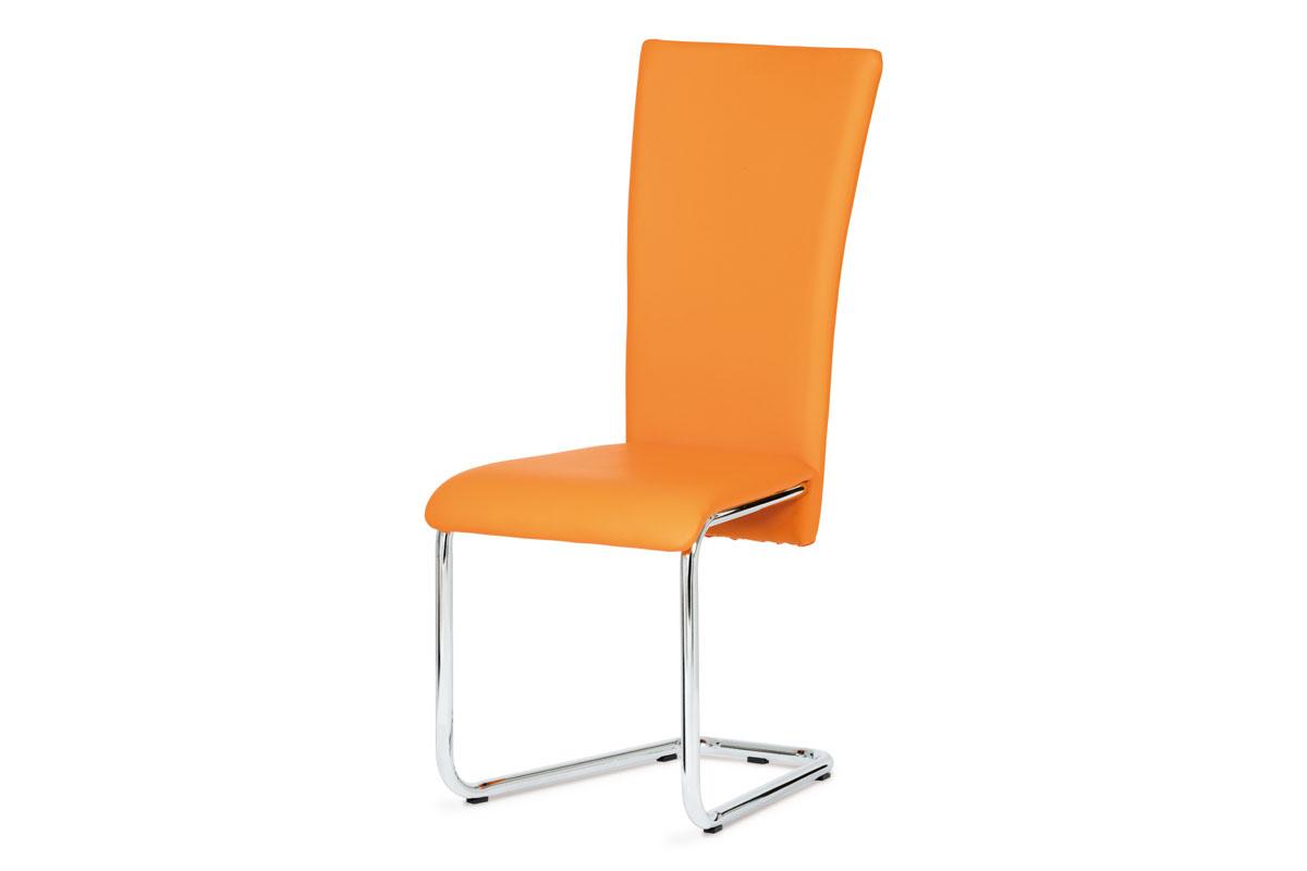 Autronic - Jídelní židle chrom / oranžová koženka - DCL-173 ORA