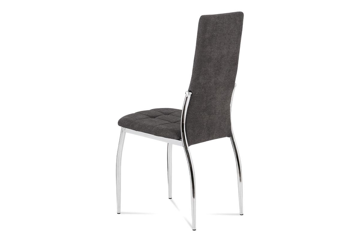 Jídelní židle, šedá látka, kov chrom - DCL-213 GREY2