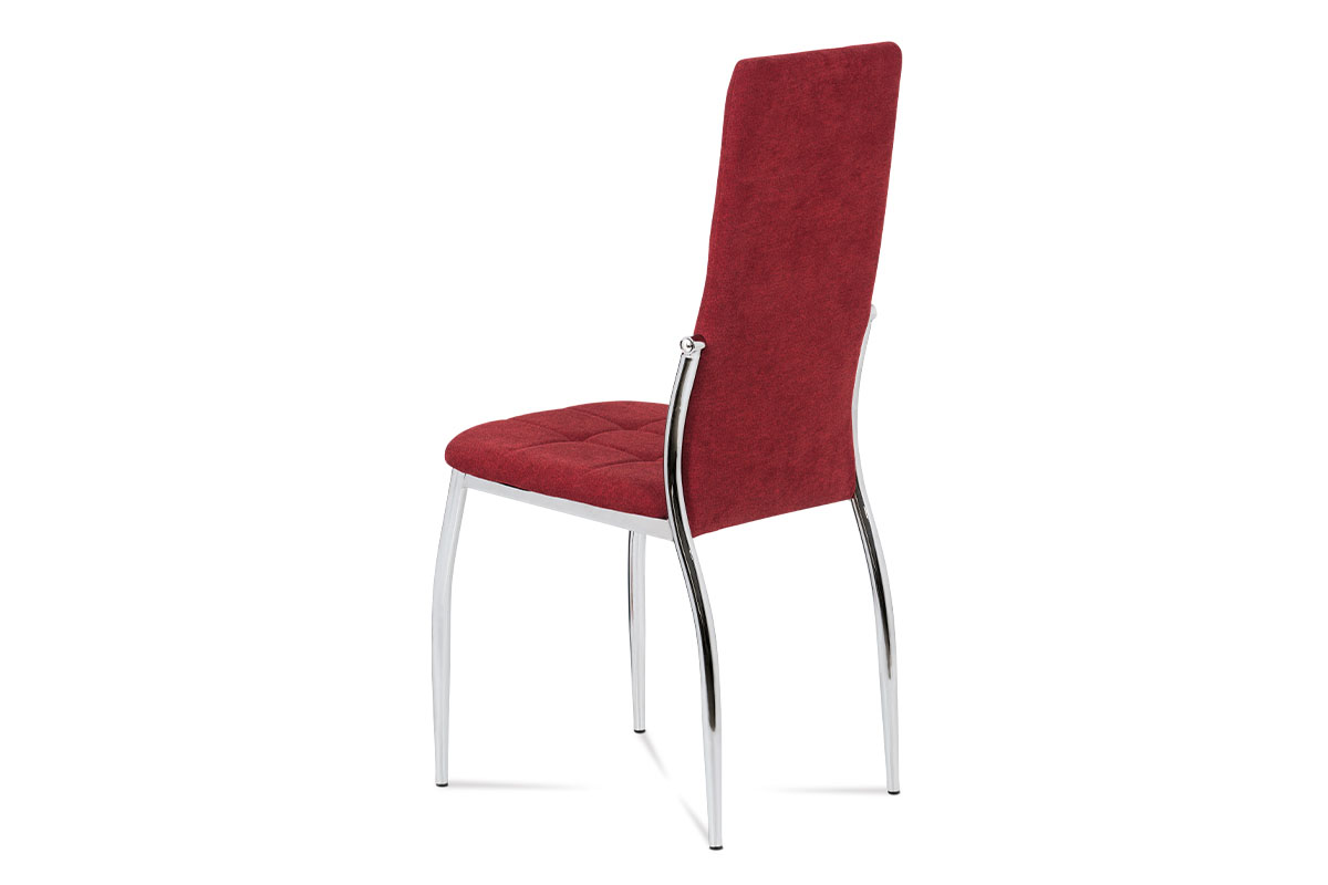 Jídelní židle, červená látka, kov chrom - DCL-213 RED2