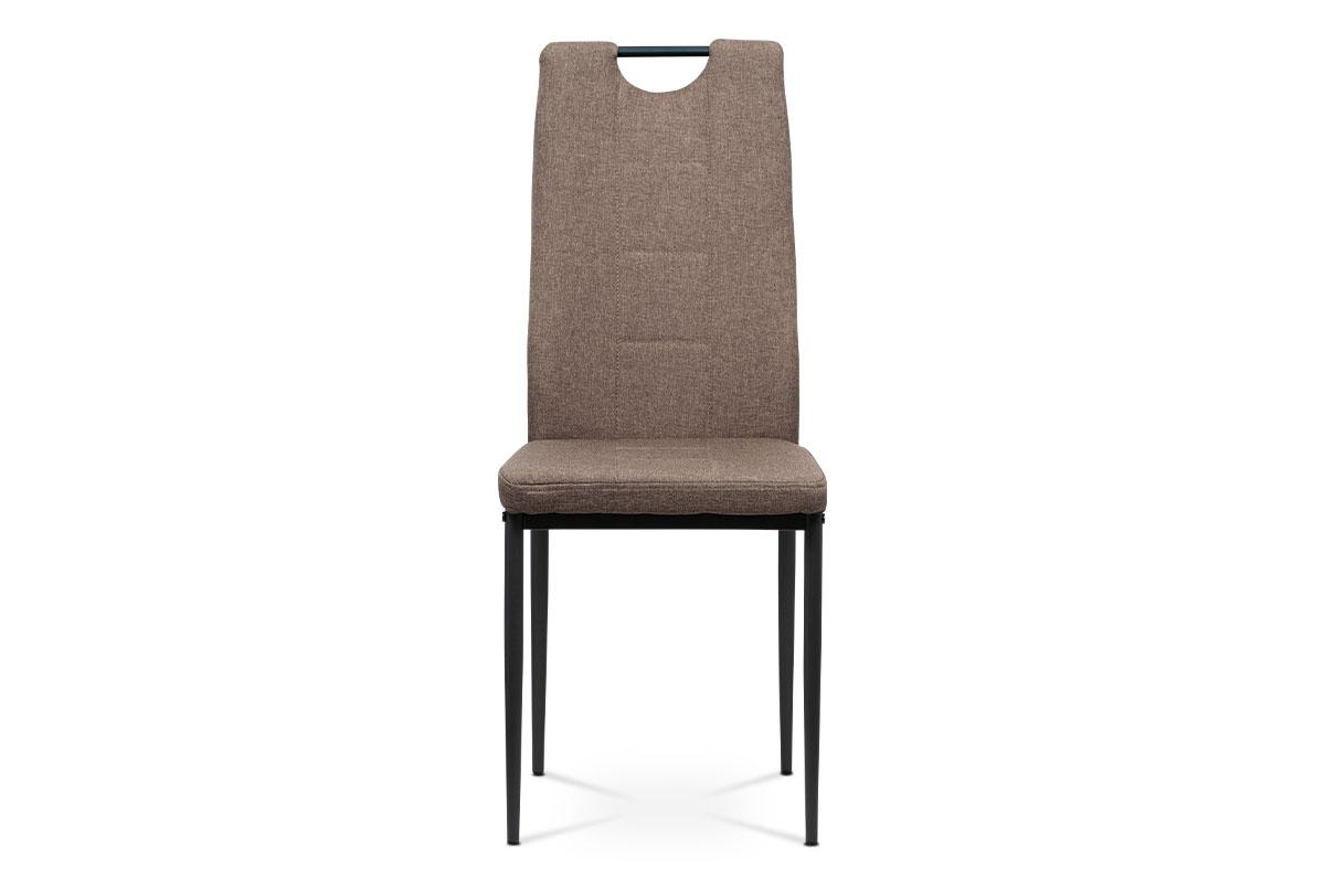Jídelní židle, potah hnědá látka, kovová čtyřnohá podnož, antracitový matný lak - DCL-391 BR2