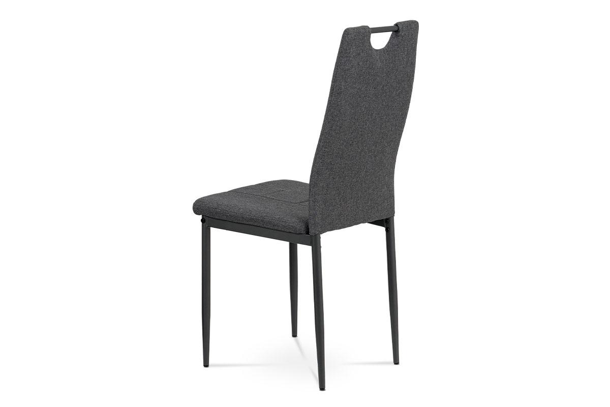 Jídelní židle, potah šedá látka, kovová čtyřnohá podnož, antracitový matný lak - DCL-391 GREY2