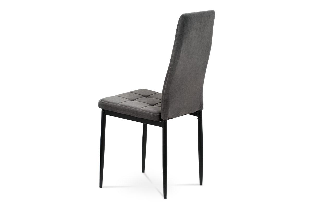 Jídelní židle, šedá sametová látka, kovová čtyřnohá podnož, černý matný lak - DCL-395 GREY4