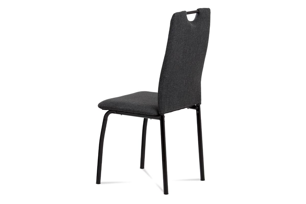 Jídelní židle, látka antracit + šedá ekokůže, kov matná černá - DCL-399 GREY