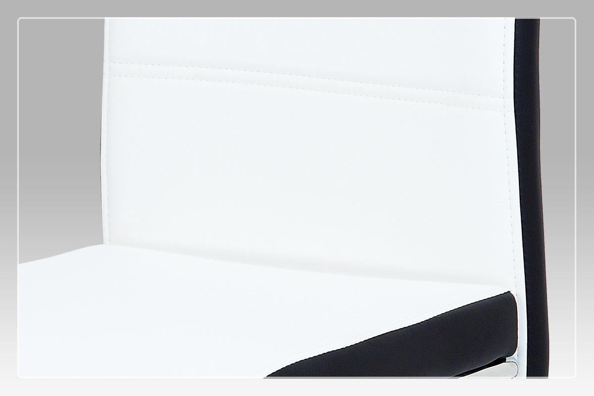 Jídelní židle, koženka bílá/černý bok, madlo, chrom - DCL-403 WT