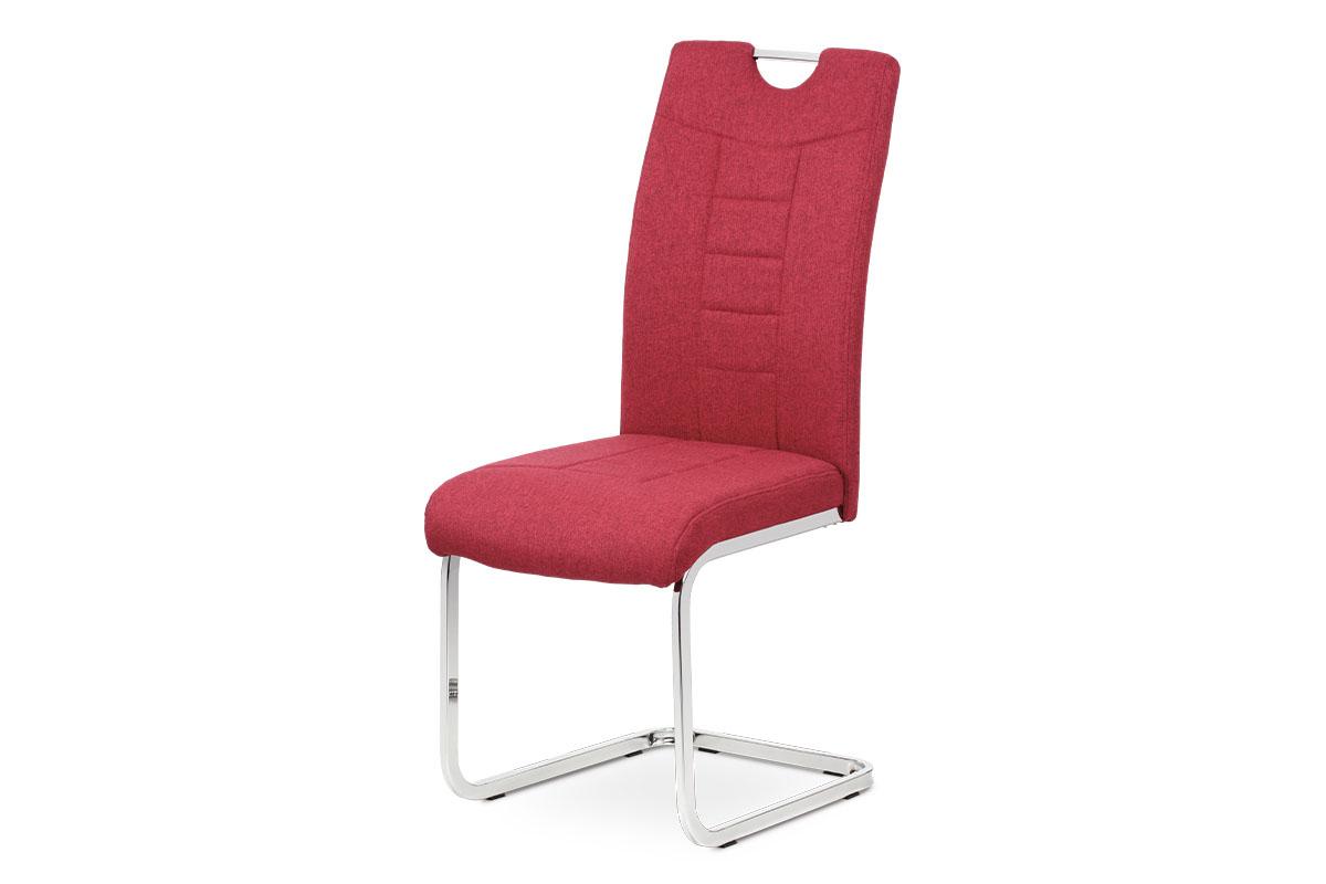 Jídelní židle, červená látka, kovová pohupová chromovaná podnož - DCL-404 RED2
