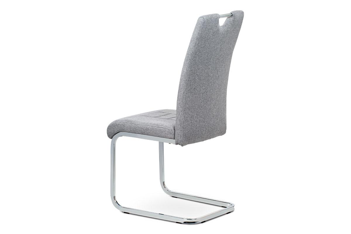 Jídelní židle, stříbrná látka, kovová pohupová chromovaná podnož - DCL-404 SIL2