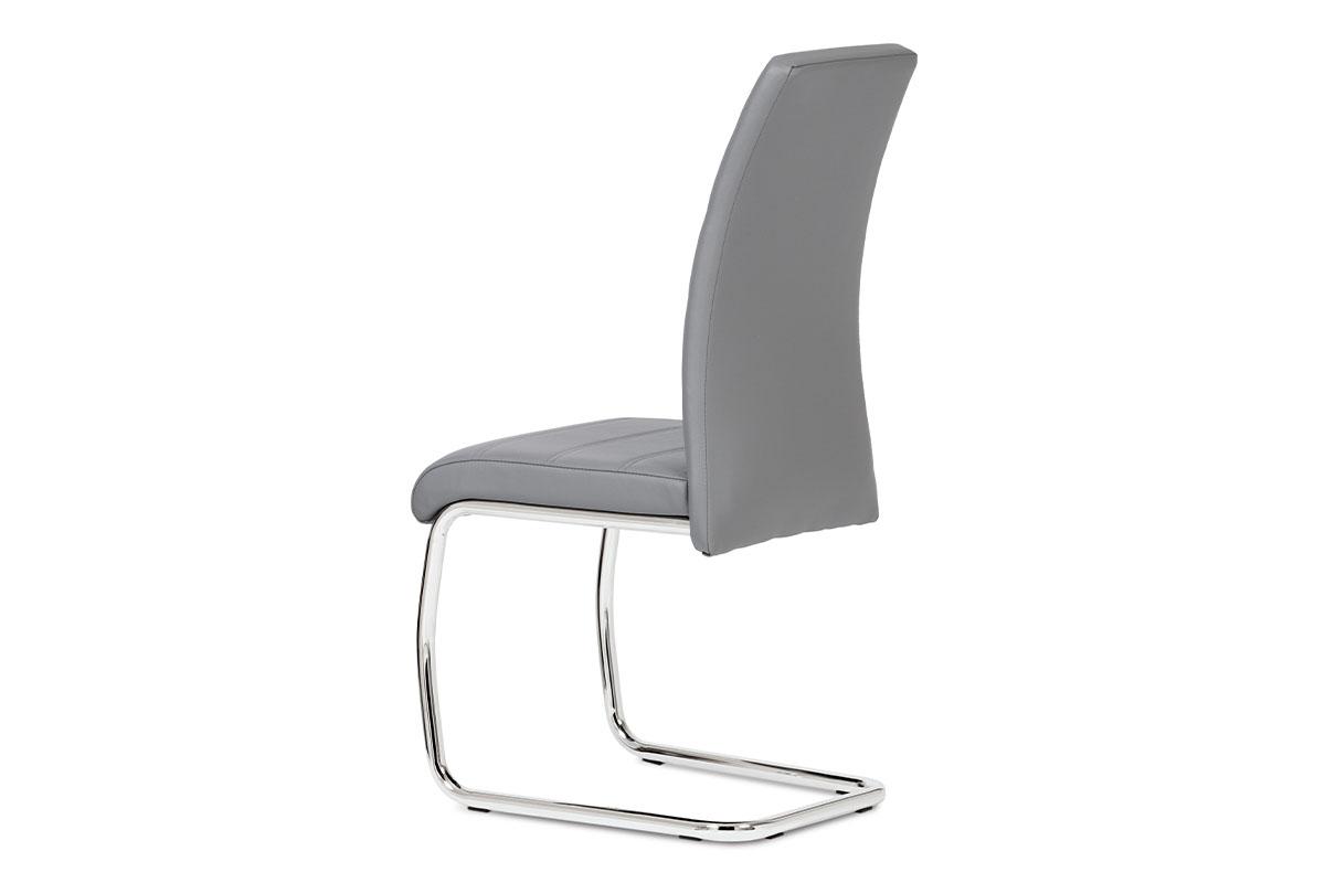 Jídelní židle chrom / koženka šedá - DCL-407 GREY