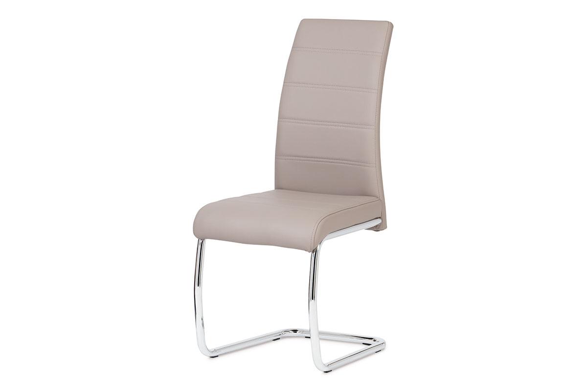 Autronic - Jídelní židle chrom / koženka lanýžová - DCL-407 LAN