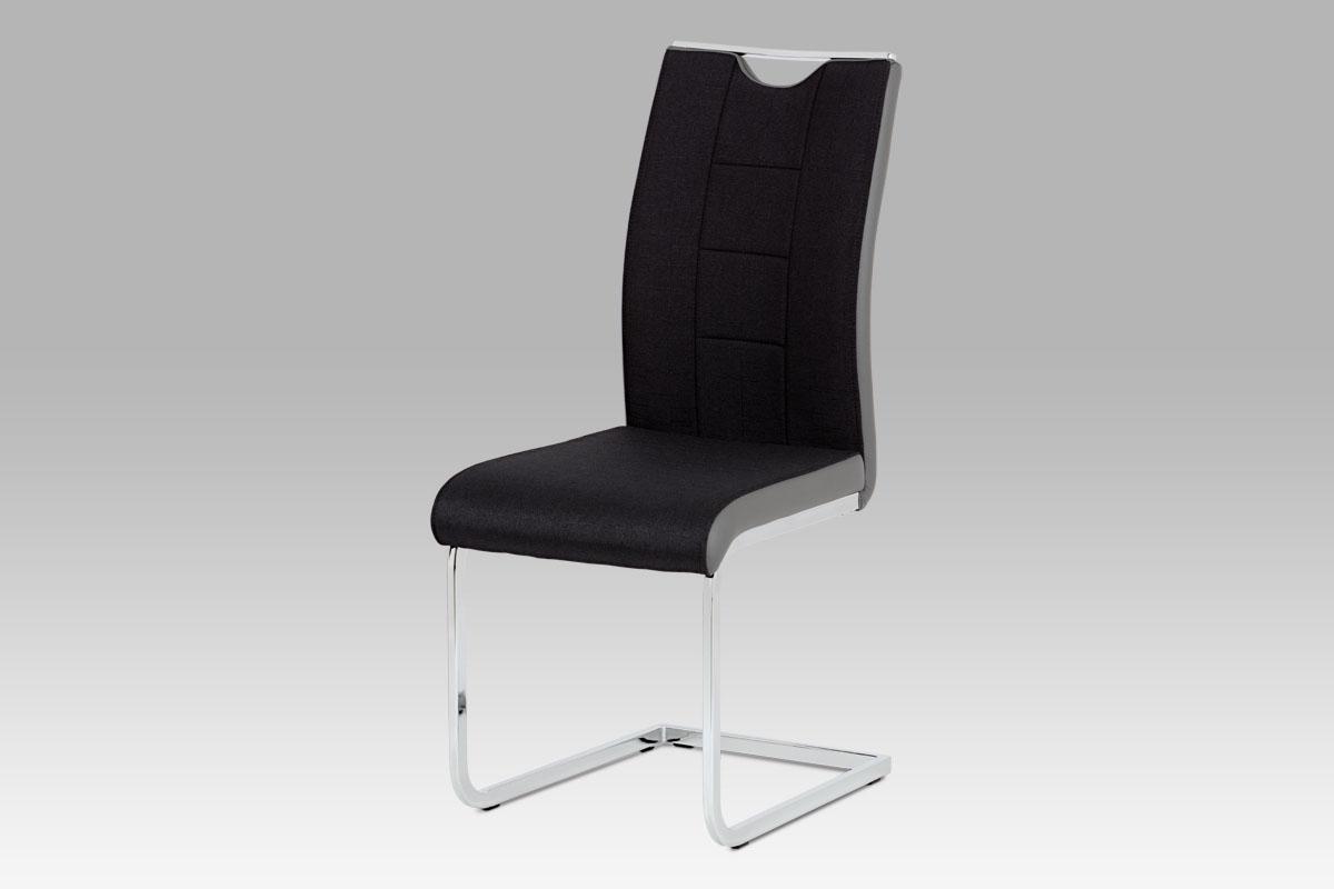 Autronic - Jídelní židle chrom / černá látka + šedá koženka - DCL-410 BK2