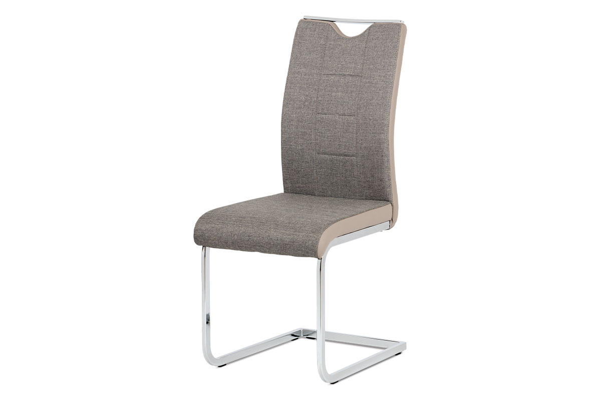 Autronic - Jídelní židle chrom / lanýžová látka + lanýžová koženka - DCL-410 LAN2