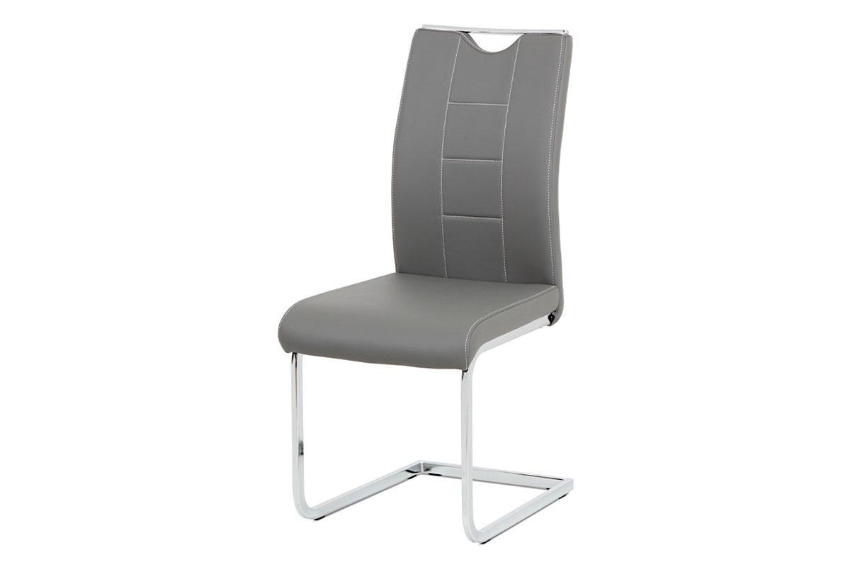 Autronic - Jídelní židle šedá koženka / chrom - DCL-411 GREY