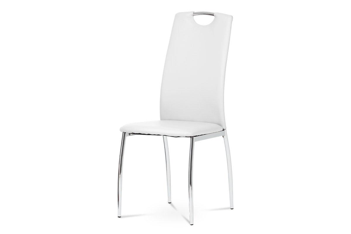 Autronic - Jídelní židle koženka bílá / chrom - DCL-419 WT