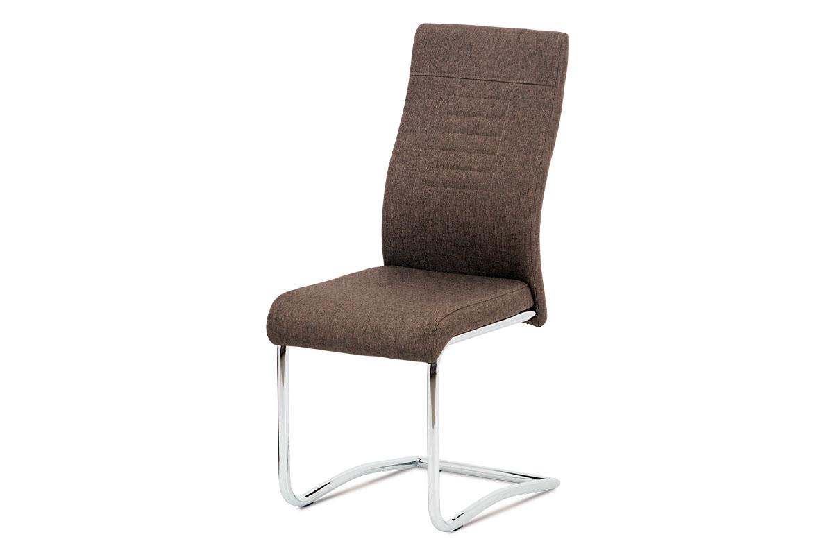 Autronic - Jídelní židle hnědá látka / chrom - DCL-427 BR2