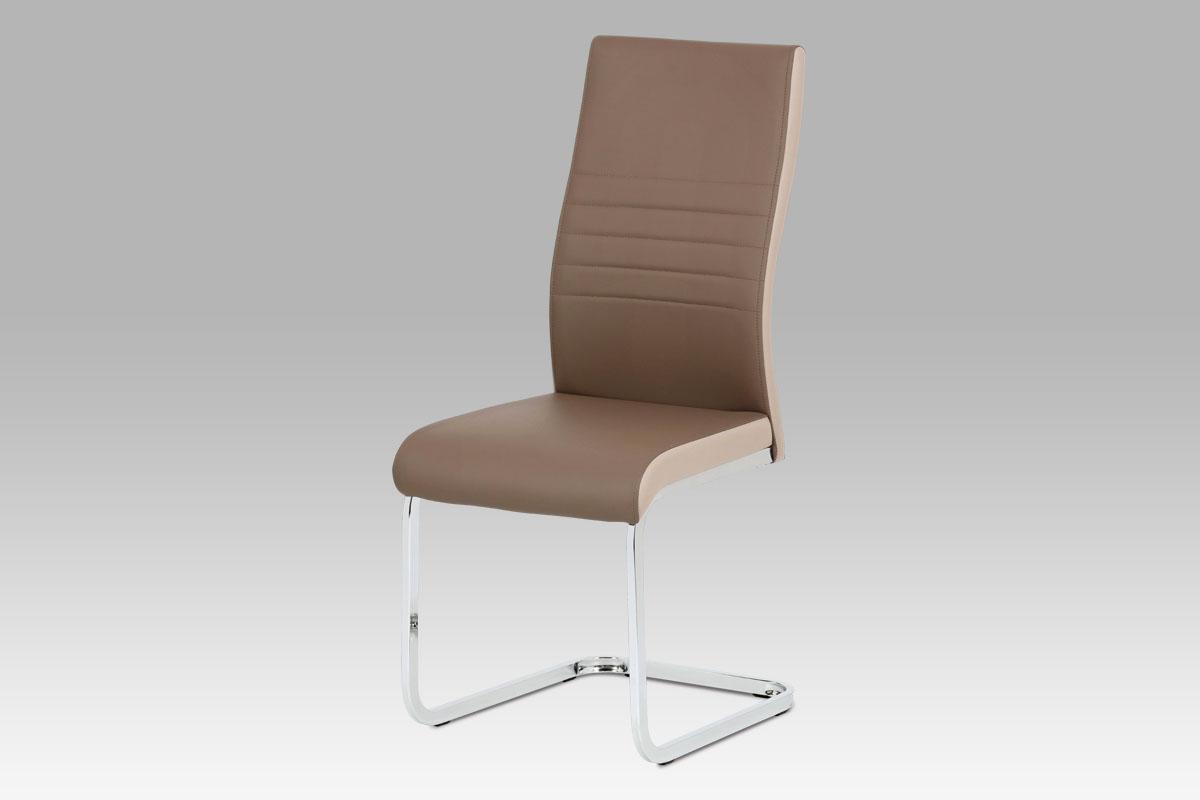Autronic - Jídelní židle coffee + cappuccino koženka / chrom - DCL-429 COF