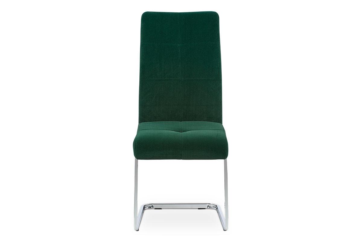 Jídelní židle, potah lahvově zelená sametová látka, kovová pohupová chromovaná p - DCL-440 GRN4