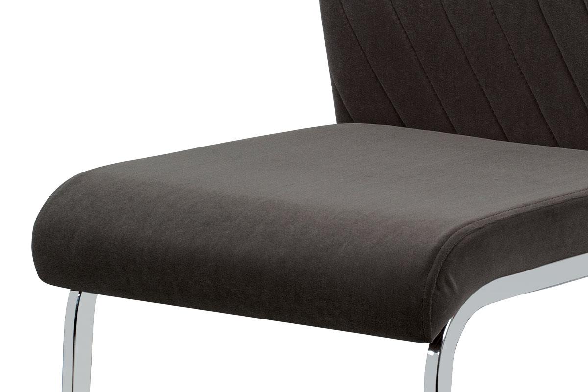 Jídelní židle, šedá sametová látka, kovová pohupová chromovaná podnož - DCL-442 GREY4