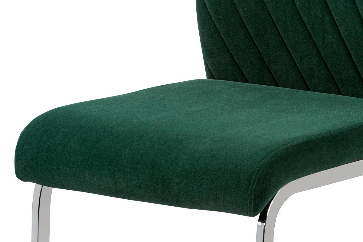Jídelní židle, zelená sametová látka, kovová pohupová chromovaná podnož - DCL-442 GRN4