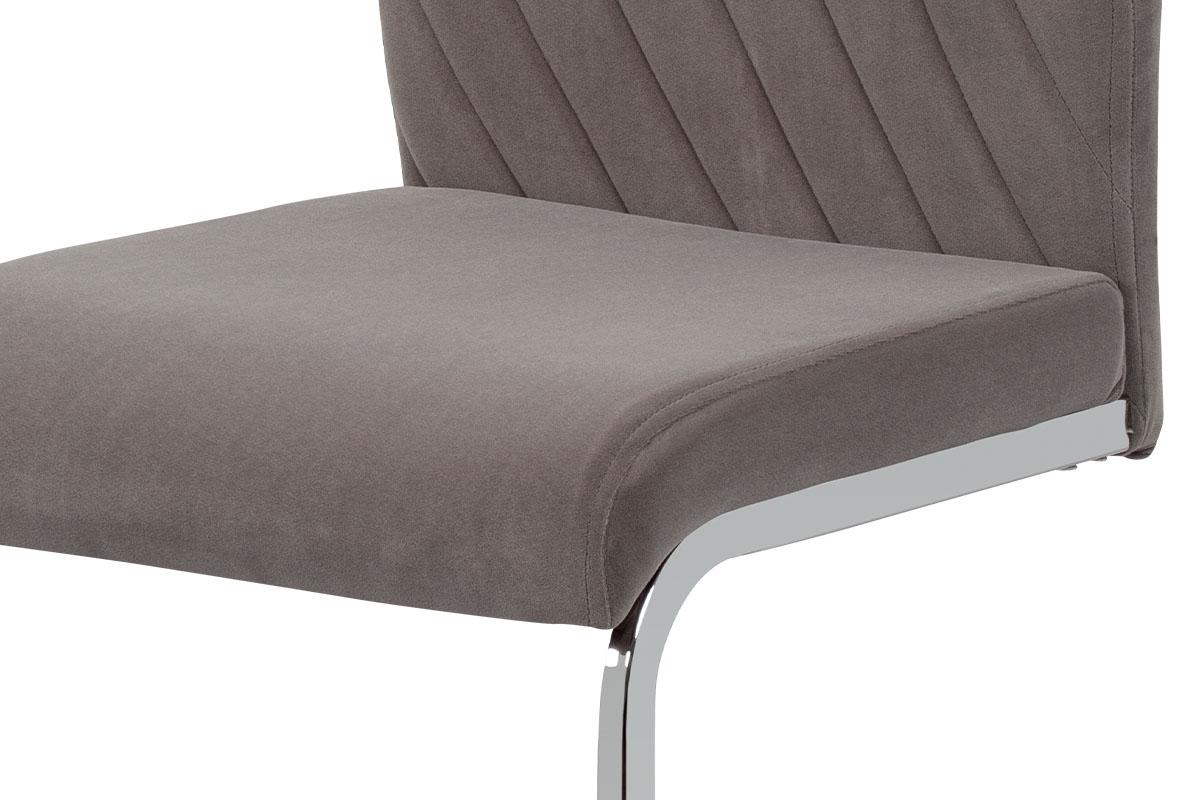 Jídelní židle, lanýžová sametová látka, kovová pohupová chromovaná podnož - DCL-442 LAN4
