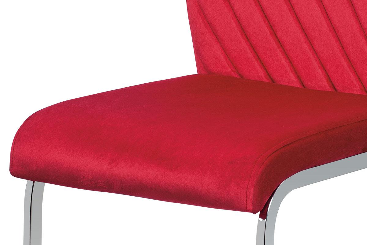Jídelní židle, červená sametová látka, kovová pohupová chromovaná podnož - DCL-442 RED4