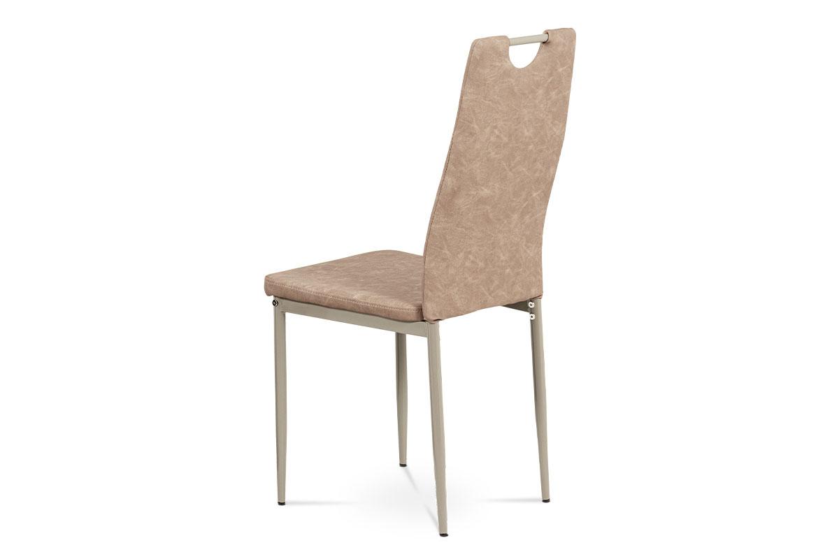 Jídelní židle, lanýžová ekokůže, kov cappuccino lesk - DCL-460 LAN3