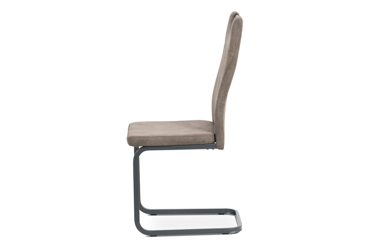 Jídelní židle, potah lanýžová látka v dekoru vintage kůže, kovová pohupová podno - DCL-462 LAN3