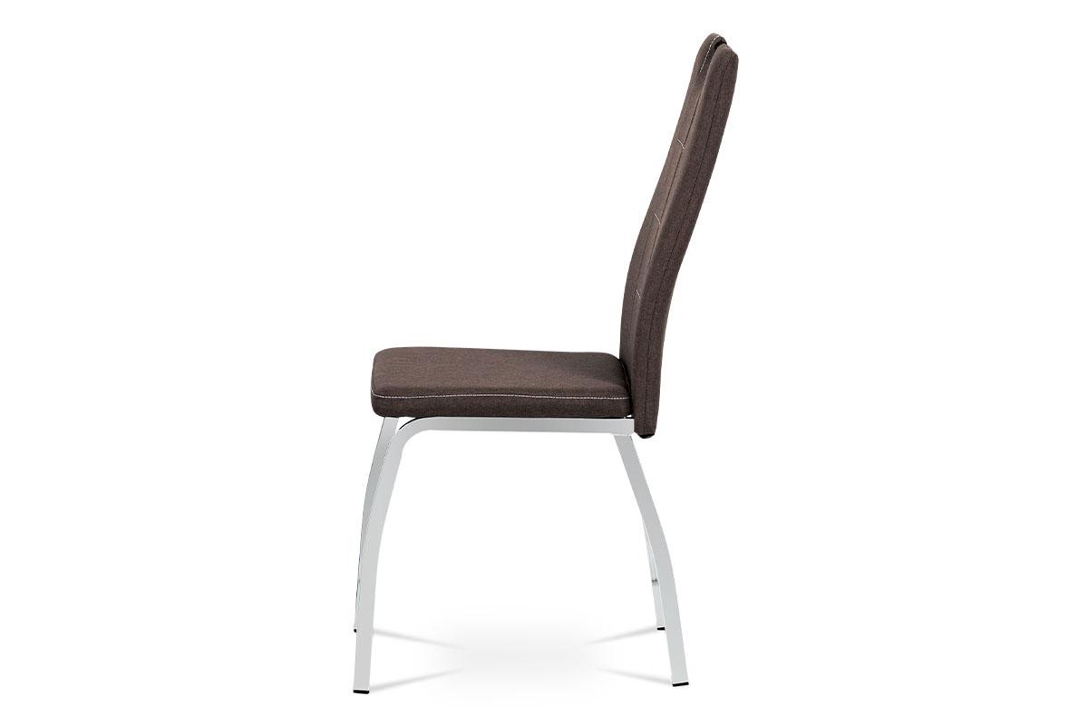 Jídelní židle, hnědá látka, kov chrom - DCL-466 BR2