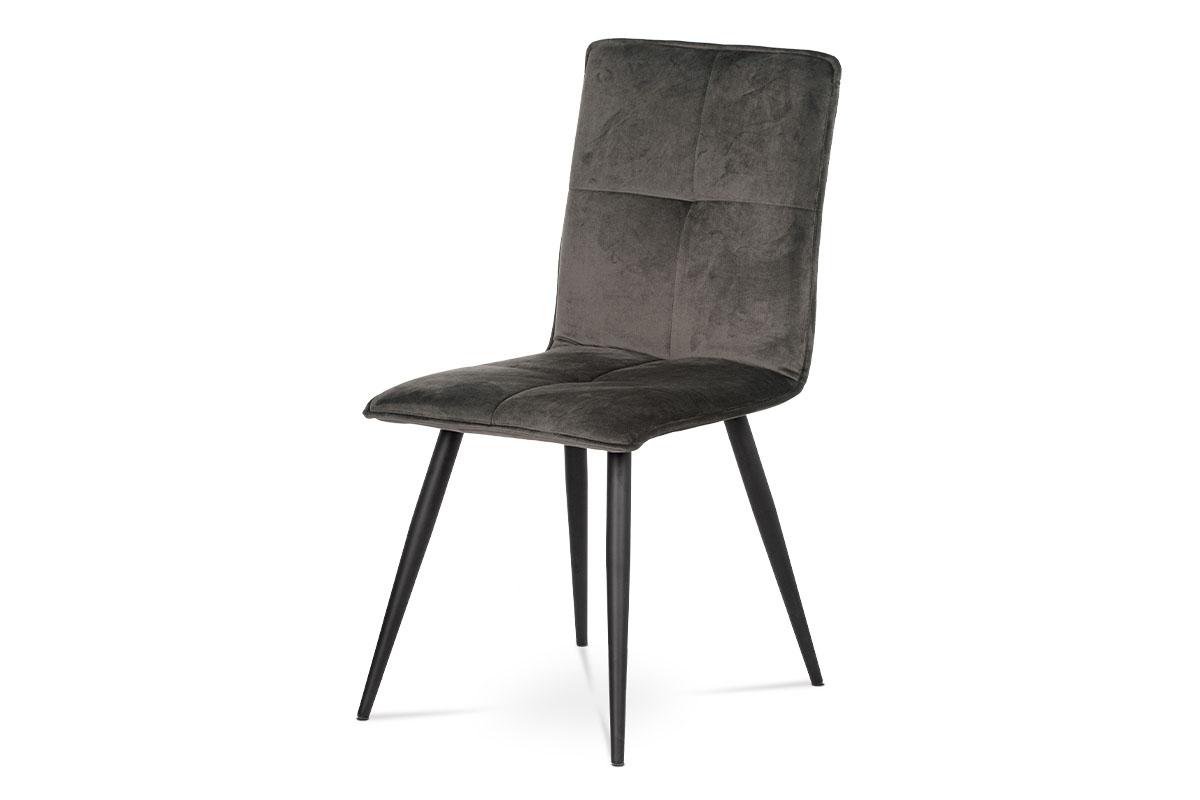 Autronic - Jídelní židle, šedá látka samet, kov černá - DCL-601 GREY4