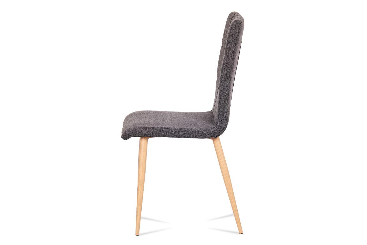 Jídelní židle, šedostříbrná látka, kov dekor buk - DCL-603 SIL2