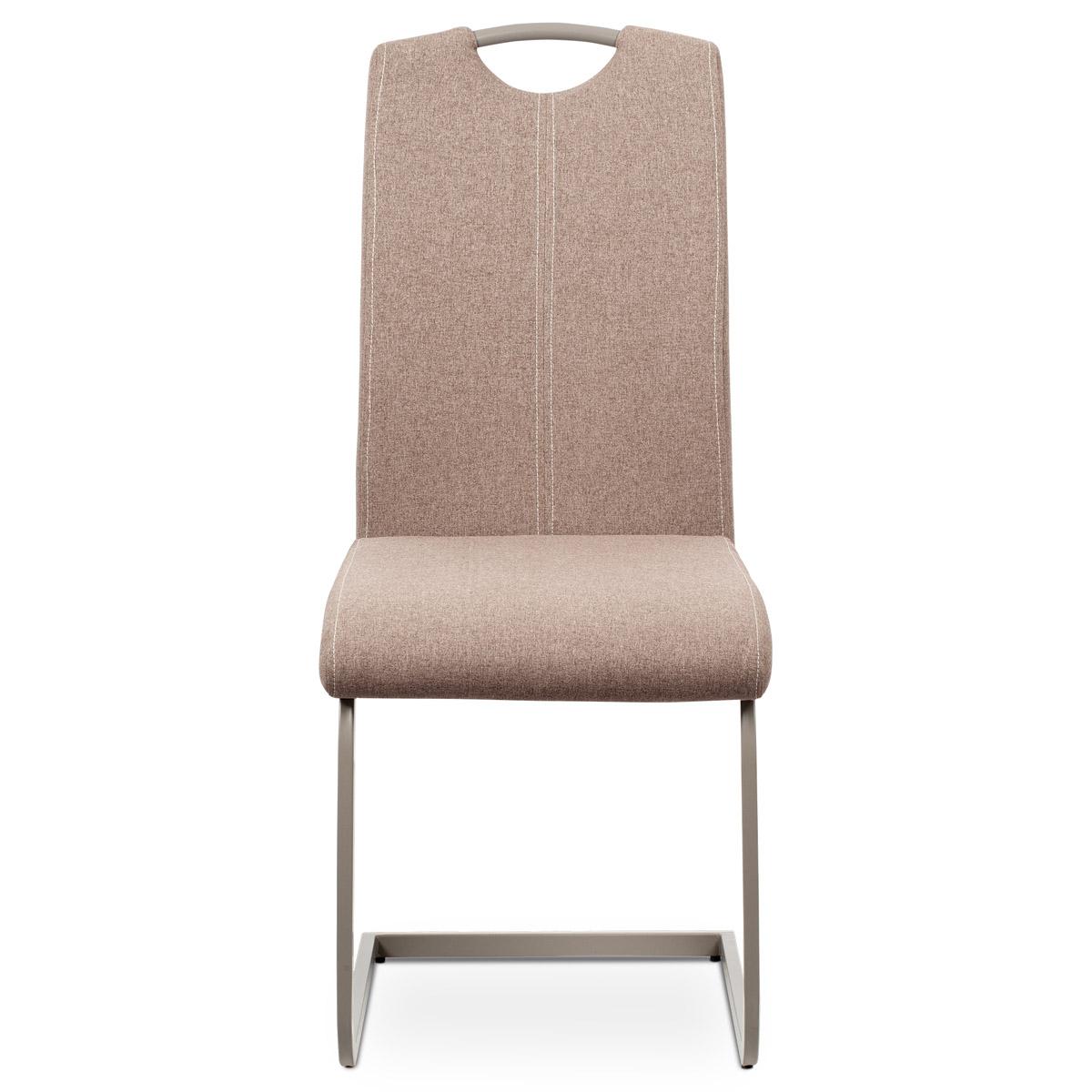 Jídelní židle, potah krémová látka, bílé prošití, kovová pohupová podnož, lanýžo - DCL-612 CRM2