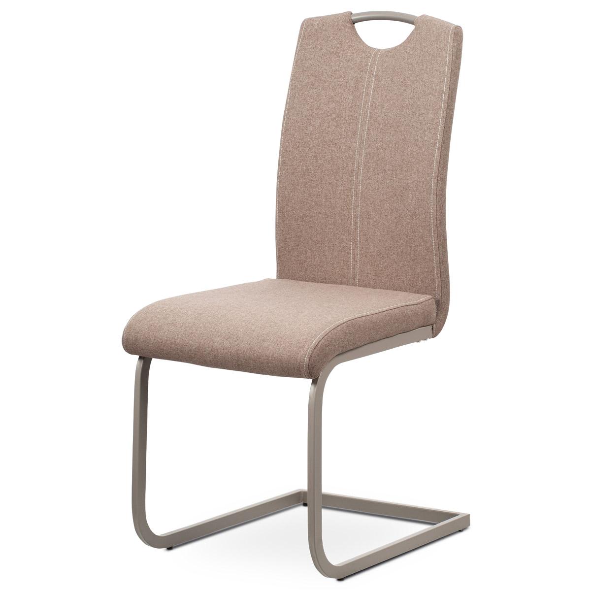 Autronic - Jídelní židle - krémová látka, kovová podnož, lanýžový matný lak - DCL-612 CRM2