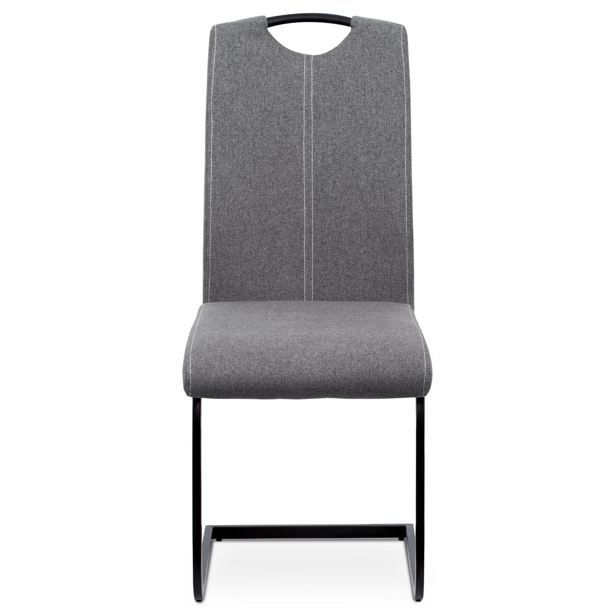 Jídelní židle, potah šedá látka, bílé prošití, kovová pohupová podnož, černý mat - DCL-612 GREY2