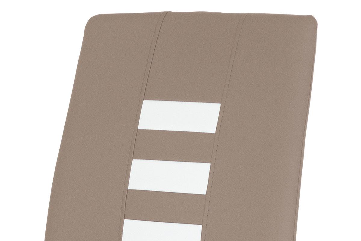 Jídelní židle, potah kombinace cappuccino a bílé ekokůže, kovová pohupová podnož - DCL-961 CAP