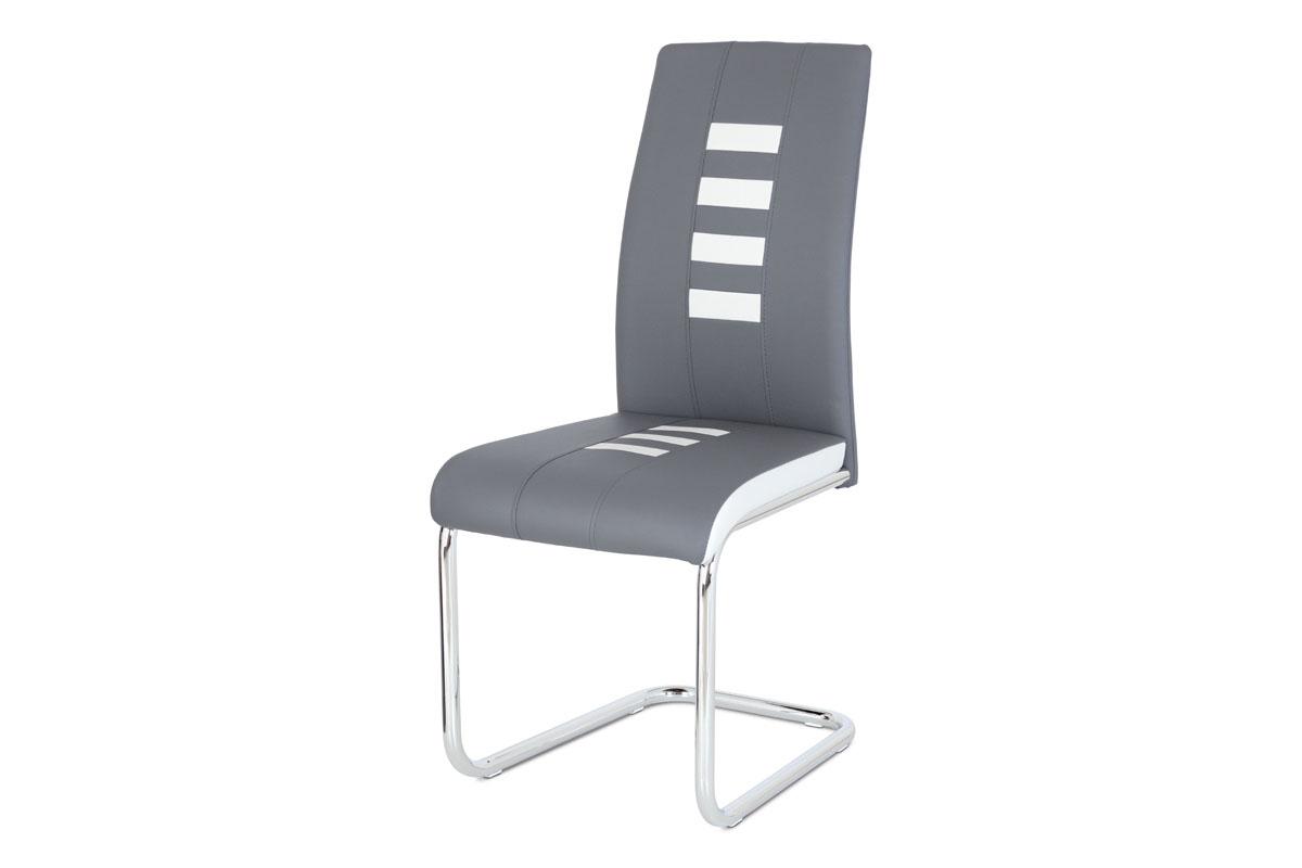 Autronic - Jídelní židle ekokůže šedá / bílá, chrom - DCL-961 GREY