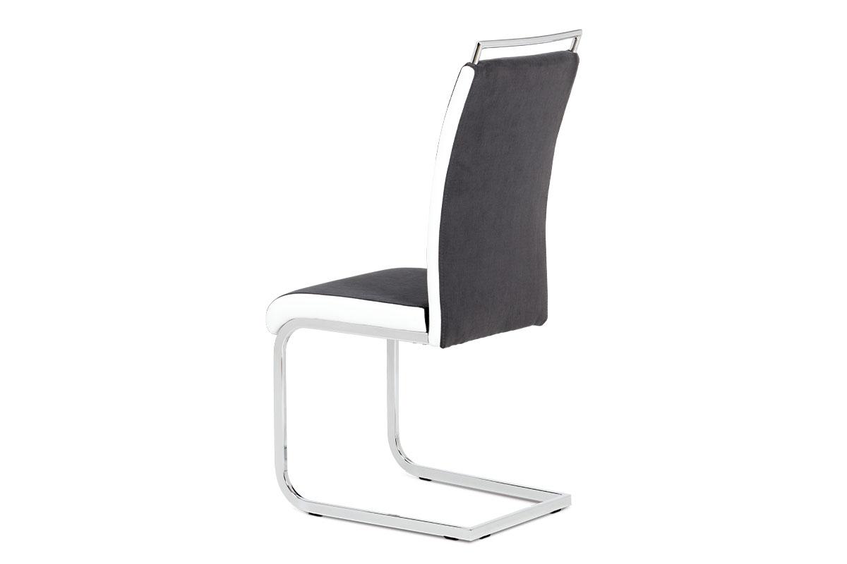 Jídelní židle šedá látka + bílá koženka / chrom - DCL-966 GREY2
